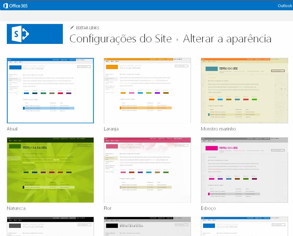 Escolher temas de aparência disponíveis em sites de publicação do SharePoint Online