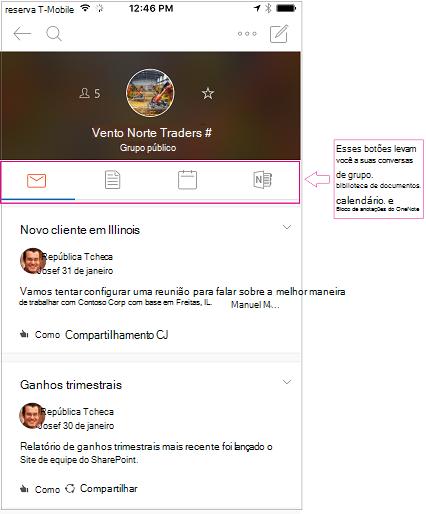 Modo de exibição de conversa de um grupo no aplicativo móvel grupos do Outlook