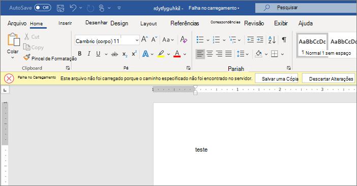 Captura de tela de Upload erro falhou ao editar um documento no Word