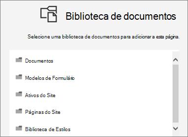 Selecione uma biblioteca de documentos para colocar em uma página