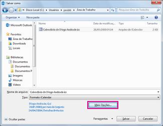 Caixa de diálogo Salvar como do calendário do Outlook