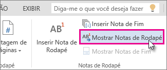 Mostrar botão Notas de Rodapé no Word Online