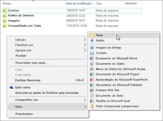 Uma captura de tela mostrando o menu do botão direito do mouse no Explorador de arquivos.