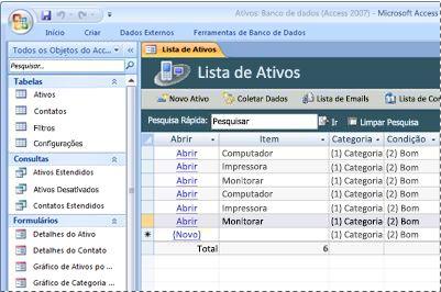 Usando o modelo de banco de dados de Ativos