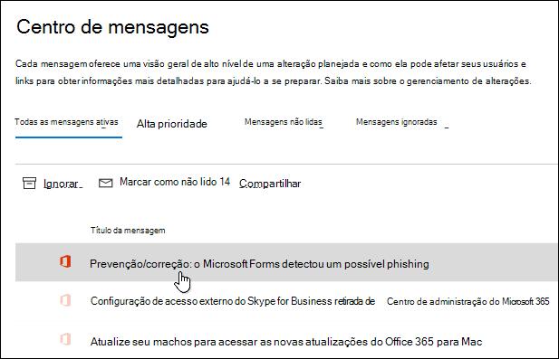 Mensagem no centro de administração do Microsoft 365 sobre detecção de phishing do Microsoft Forms