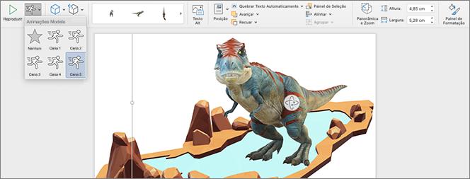Modelo 3D com opções de animação em exibição