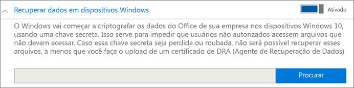Procure o certificado de Agente de Recuperação de Dados.