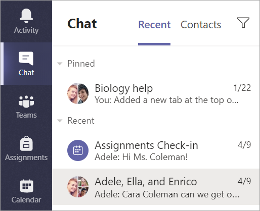 Selecione Chat na barra do aplicativo.