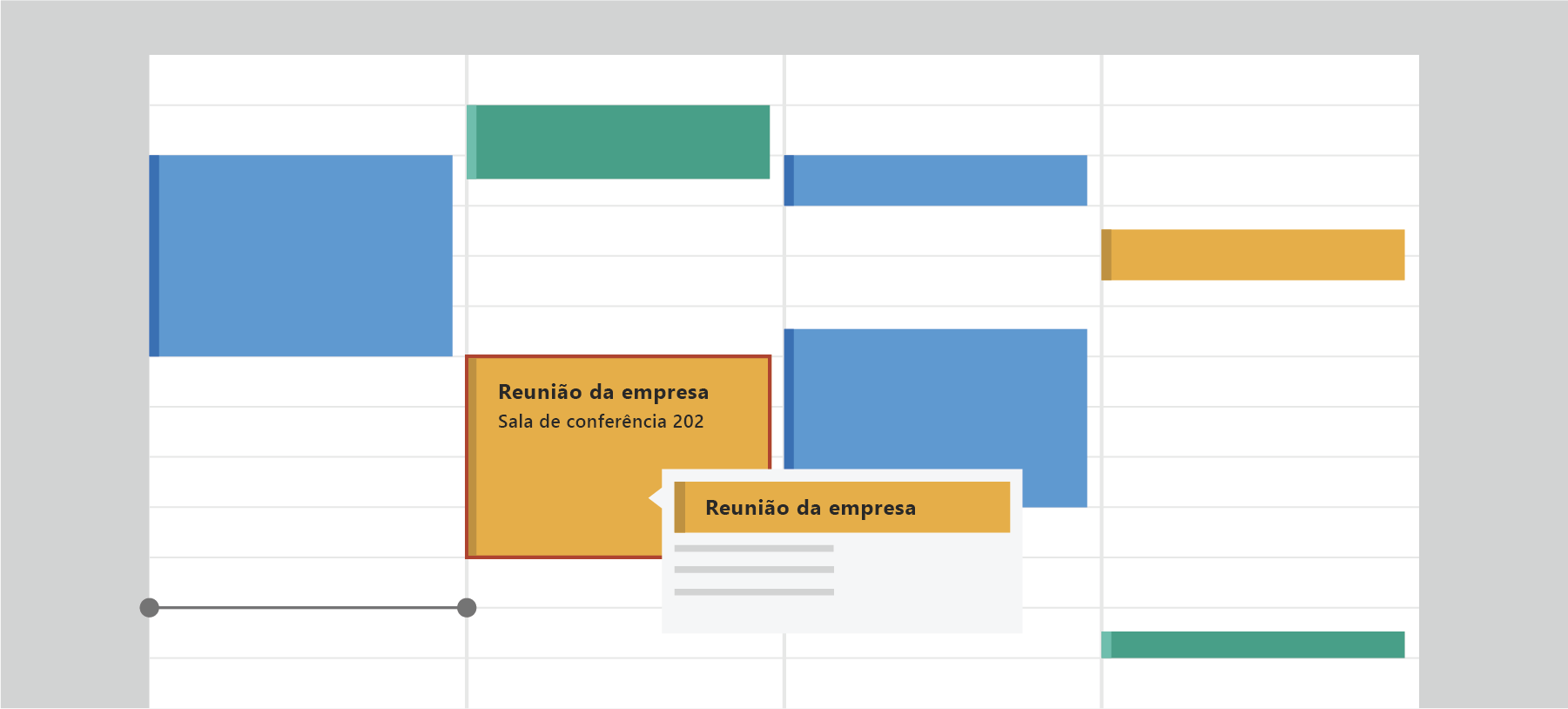 Mostrar o calendário do Outlook