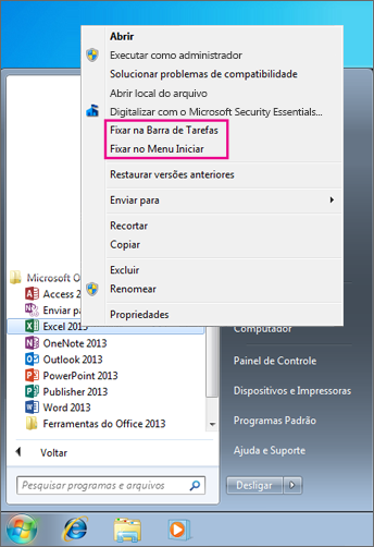 Fixar aplicativos do Office ao menu Início ou à barra de tarefas no Windows 7