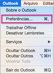 No menu do Outlook, clique em Preferências.