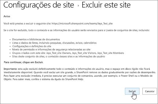 Excluir a tela de confirmação e aviso de site