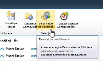 Botão de permissões de biblioteca na faixa de opções
