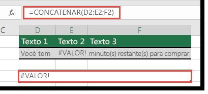 Erro #VALOR! em CONCATENAR