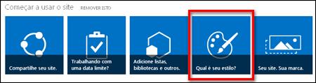 Site recém-criado no SharePoint Online, mostrando blocos clicáveis para personalizar ainda mais o site
