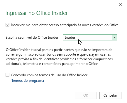 Caixa de diálogo Ingressar no Office Insider com a opção de nível de Office Insider