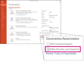 Editar vínculos com arquivos
