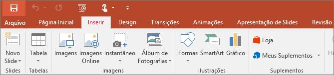 Mostra a guia Inserir da faixa de opções no PowerPoint
