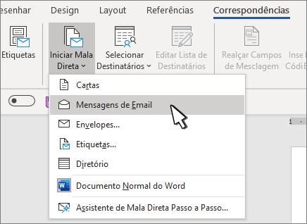 Iniciar a mala direta com mensagens de email selecionadas