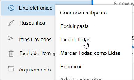 Uma captura de tela mostra a excluir todas as opção selecionada para a pasta Lixo eletrônico.