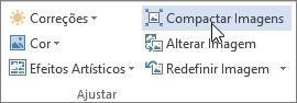 Botão Compactar imagens na guia Formatar de ferramentas de imagem