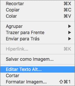 Opção Edit Alt Text no menu de contexto do PowerPoint para Mac