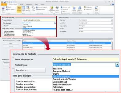 Registro de Projeto Comercial mostrando lista de tipos de projeto