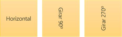 Exemplos de direção de texto: horizontal e girado