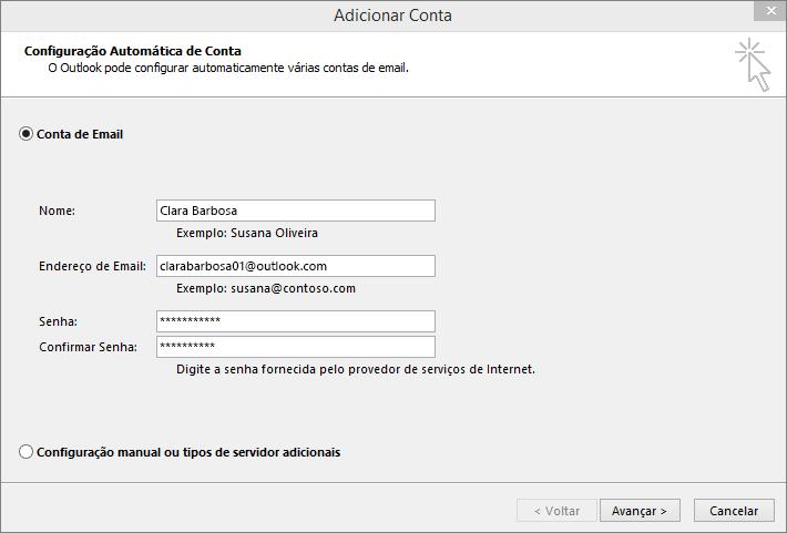 Usar a Configuração Automática de Conta para adicionar a conta de email como parte do perfil recém-criado do Outlook