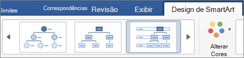 Clique em um tipo de design de SmartArt
