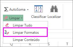 use o botão Limpar Formato para remover a formatação