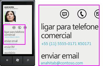 Captura de tela de atividades como chamar o trabalho no Lync para cliente móvel