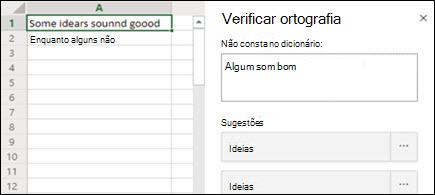 Imagem do painel Verificação ortdeira no Excel para a Web