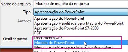Salvar como um Modelo do PowerPoint