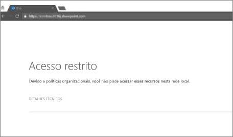 Mensagem de acesso restringido no navegador