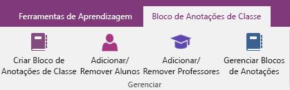 Guia Bloco de Anotações de Classe da faixa de opções do OneNote com ícones para criar um bloco de anotações de classe, adicionar ou remover alunos, adicionar ou remover professores e gerenciar os blocos de anotações.