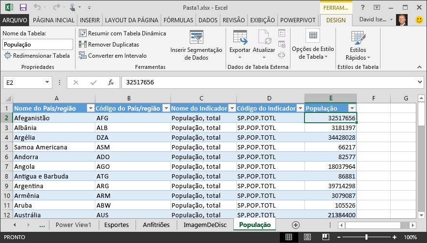Dados de população inseridos no Excel