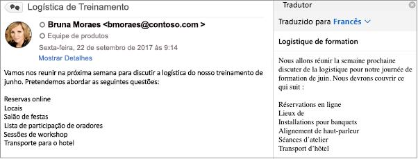 Essa mensagem foi traduzida do inglês para o francês usando o suplemento tradutor do Outlook