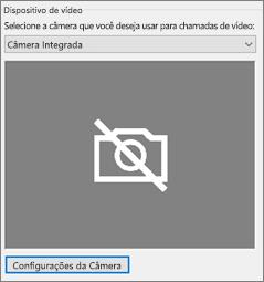 Configurações da câmera do dispositivo de vídeo