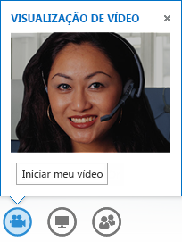 Captura de tela da inicialização de vídeo de uma mensagem instantânea