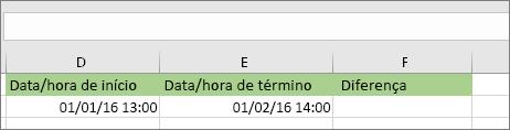 Data de início de 1/1/16 1:00 PM; Data de término de 1/2/16 2:00 PM