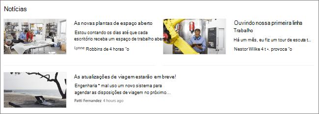 ScreenCap da Web Part de notícias de um site do SharePoint, onde as postagens foram filtradas