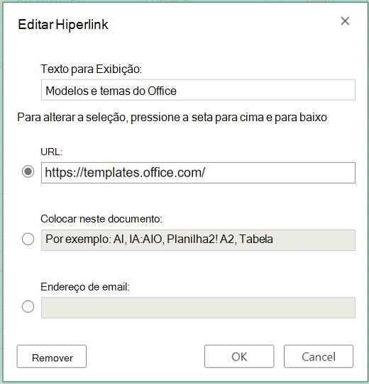 Caixa de diálogo Inserir Hiperlink no Excel para a Web.