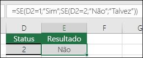 """Usar """""""" para verificar se há uma célula em branco – A fórmula na célula E3 é =SE(D3="""""""",""""Em branco"""",""""Não está em branco"""")"""
