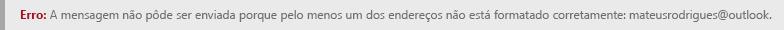 Captura de tela de um erro de formatação de endereço no Outlook.com.