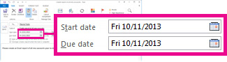 Propriedades de Datas de Início e de Conclusão para uma tarefa atribuída
