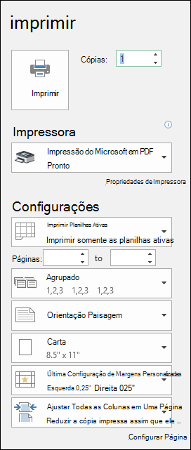 Caixa de diálogo Visualização de impressão