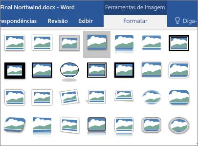 As opções de borda para as imagens são mostradas.