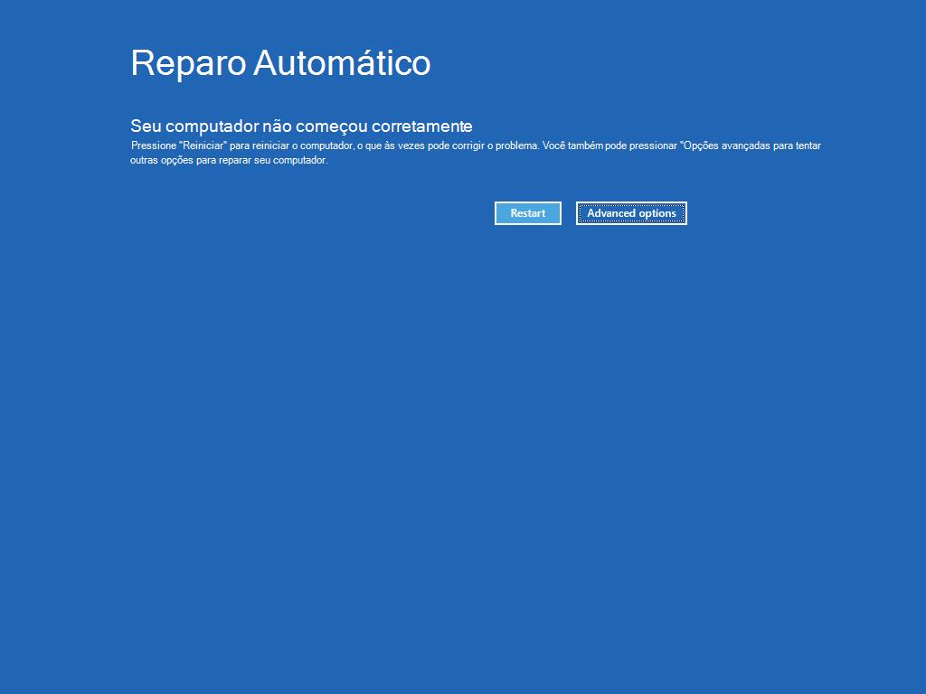 """Mostra a tela Reparo Automático, com o botão """"Opções avançadas"""" realçada."""