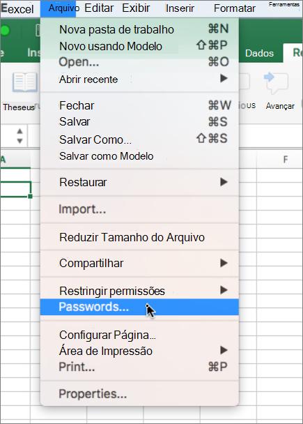 Opção de senha no menu Arquivo